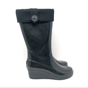 Sperry Top-Sider Black Tall Wedge Rain Boots